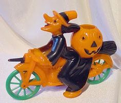 Vintage Plastic Halloween Candy Container ~ Witch Riding Motorcycle