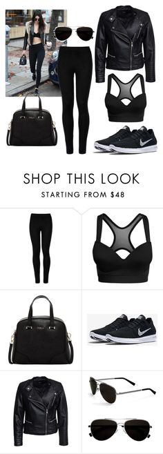 """""""Black Kendall"""" by fleuramour on Polyvore featuring Baldwin, Wolford, Furla, NIKE, Sisters Point, Calvin Klein, outfit, ootd, dailyoutfit and fashionset"""