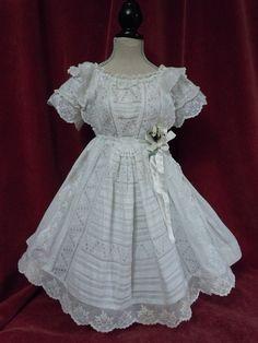 Original Antique white work batiste Dress for french bebe Jumeau Steiner doll