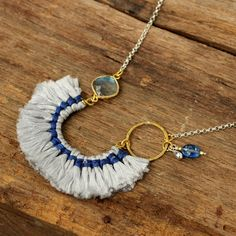 Elegance shine funky fluff cotton necklace on stelring silver chain with kyanite…