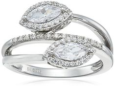 Sterling Silver Cubic Zirconia Marquise Two Stone Ring Size 7 ** Want additional info? Click on the image.