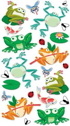 3D Metallic Frogs Stickers