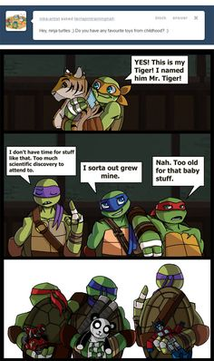 Old Toys by Shy-Light.deviantart.com on @deviantART | HA! Donnie has a Transformer! If anyone knows Rob Paulsen's history, they'll know why this is so great.