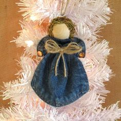 Upcycled Denim Angel Christmas Tree Ornament by FarmCountryCrafts Cowboy Christmas, Christmas Angels, Rustic Christmas, Christmas Art, Christmas Thoughts, Ornament Crafts, Christmas Tree Ornaments, Holiday Crafts, Christmas Poinsettia