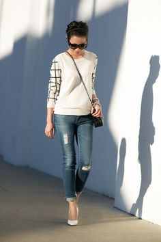 Shadow Play :: Distressed jeans & Grid patterns