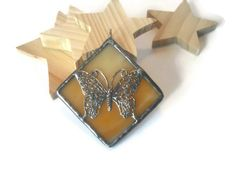 Stained Glass Jewelry Butterfly Pendant Butterscotch by coalchild, $25.00