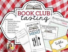 Book Club Tasting Materials by Rachel Castaneda Book Club Menu, Menu Book, Book Cafe, Book Club Books, Book Clubs, 2nd Grade Ela, 3rd Grade Reading, Grade 2, Book Tasting