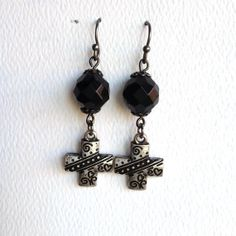 Metal Cross Earring Etched Heart Dangle Bead and by CraftedLocally, $18.00