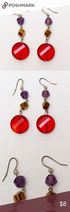 """Red, purple, and gold beaded drop earrings Red, purple, and gold beaded drop earrings. Super lightweight and comfortable to wear. 2"""" drop. Minor discoloration on hooks but otherwise like new! Jewelry Earrings"""