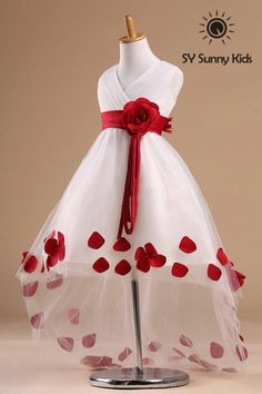 Red flower girl for wedding dress