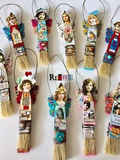 By Kim Collister using Skinny Paint Brush Doll Kits, Doll Head Paper Cuts, and more from Retro Café Art Gallery! www.RetroCafeArt.com