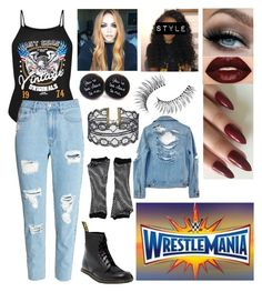 """""""wrestlemania 👽shay👽"""" by lostboyys ❤ liked on Polyvore featuring Dr. Martens, Smashbox, Steve Madden and Trish McEvoy"""