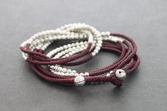 Maroon Red Beaded Wrap Bracelet Necklace Anklet by XtraVirgin