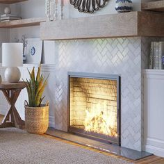 Modern Fireplace Tiles, Tiled Fireplace Wall, Tile Around Fireplace, Herringbone Fireplace, Fireplace Tile Surround, Fireplace Update, Bedroom Fireplace, Fireplace Remodel, Diy Fireplace