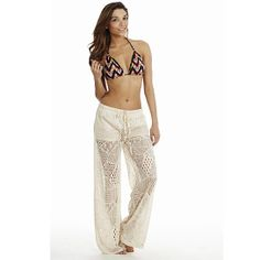 Cream Wide Leg Crochet Pants • Made of 65% cotton 35% Poly• Great for year-round wear• Available in sizes S-L• Available in your choice of White, Black, or Cream