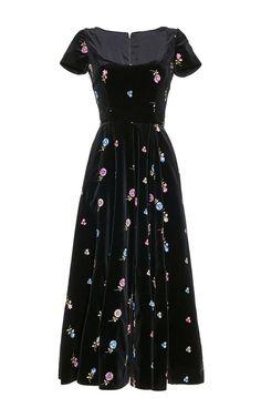 Embroidered Velvet Full Dress by Luisa Beccaria | Moda Operandi