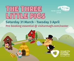 Visit the three little pigs in their houses made from straw, wood and stone this weekend at Navan Fort, Armagh. Find out more at https://whatsonni.com/event/39631-the-three-little-pigs/navan-centre-fort