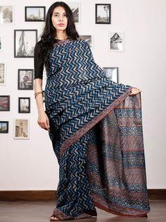 Indigo Ivory Rust Hand Block Printed Cotton Saree In Natural Colors - Indigo Saree, Shibori Sarees, Handloom Saree, Tye And Dye, Ethnic Sarees, Indian Designer Wear, Beautiful Saree, Cotton Saree, Indian Dresses