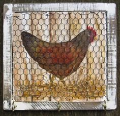 Hand Painted Wooden Signs Chickens | Hangings - Handpainted Wooden Sign Art Wall Plaque Hanging - Chicken ...