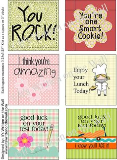 FREE lunchbox Notes    You Rock, You're Amazing-Positive thoughts for your kids at lunchtime-Lunchbox Notes