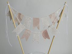 Bunting Wedding Cake Topper ///READY TO SHIP/// by ApplesModernArt, $17.00