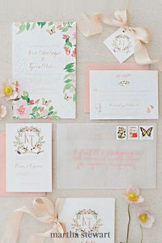 Looking for perfectly-pretty invites that skews a bit whimsical? Bookmark this suite by Mon Voir, complete with colorful florals, a girlish crest, and butterfly details—all done in watercolor. #weddingideas #wedding #marthstewartwedding #weddingplanning #weddingchecklist Watercolor Wedding Invitations, Diy Invitations, Invitation Design, Invitation Suite, Invites, Invitation Cards, Invitation Wording, Floral Invitation, Invitation Ideas