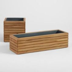 Wood and Metal Alicante Low Outdoor Patio Planter - Square by World Market Deck Planters, Wooden Garden Planters, Rectangular Planters, Long Planter Boxes, Wood Planter Box, Covered Back Patio, Covered Pergola, Plant Box, Patio Wall