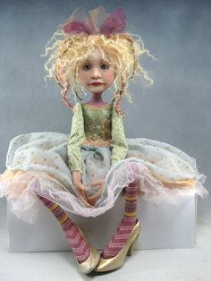 Folk Art Gold Shoes Doll OOAK |