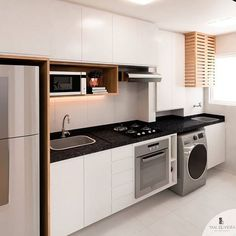 Cozinha neutra e bem funcional. Destaque para as portas ripadas escondendo o aquecedor de gás. Basement Kitchen, Apartment Kitchen, Home Decor Kitchen, Kitchen Interior, Home Kitchens, Modern Kitchen Cabinets, Kitchen Cabinet Design, Best Kitchen Designs, Modern Kitchen Design