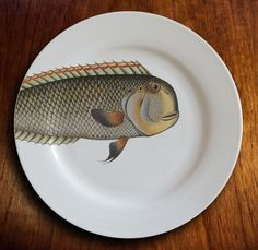 fishy fish Dinner Plate  mr machoire by milestonedecalart on Etsy, $38.00 -- WANT!!