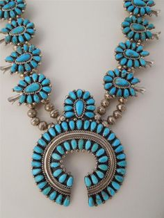Navajo Sterling Silver Turquoise Squash Blossom Necklace