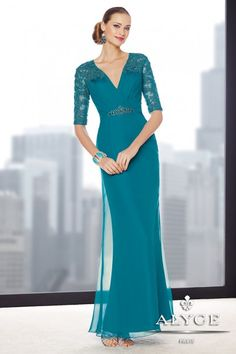 I really like thisone. The back is really pretty. Either teal or eggplant. Mother of the Bride | Jean de Lys Dress Style #29711 Full View