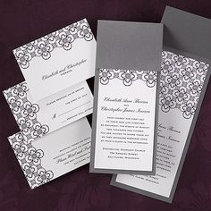 Pewter Pocket Invite  Available background colors: Aquarium, Bright Red, Ebony, French Kiss, Grapevine, Moss, Peacock, Sapphire and Raisin (shown).
