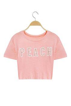 Short Sleeves Peach Letter Pattern Crop T-shirt