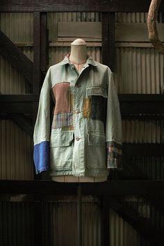 Vintage remake French hunting jacket/1950's/ made in France/ Crazy pattern/ patchwork/ needlework
