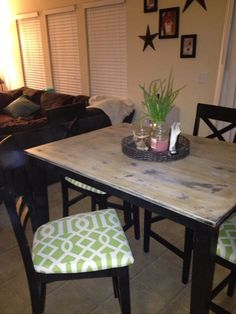 My AFTER!!! :) DIY refinished dining table! ❤