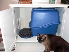 Litter Box Furniture Ikea: Make a Cat Litter Box with Ikea Furniture Space Saving Furniture Ikea, Pet Furniture, Cat Litter Cabinet, Litter Box, Cat Litter Brands, Ikea Cat, Best Cat Litter, Half Doors, Cool Cats