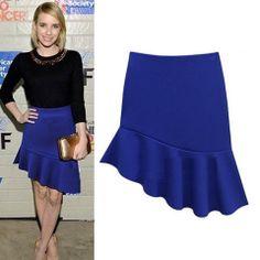Emma Roberts Asymmetrical Blue Skirt