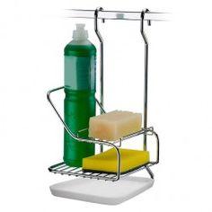 Suporte para Detergente e Esponja para Barra de Cozinha em Aço Cromado - 5 Anos de Garantia
