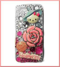 Hello Kitty crystal bling 3d deco kawaii Iphone 5 case handmade