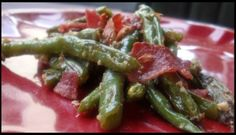 Oven Roasted Green Beans topped with Crisp Bacon and Crushed Almonds