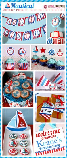 Nautical Birthday Party Package Personalized FULL by venspaperie Sailor Birthday, Sailor Party, Birthday Fun, First Birthday Parties, Birthday Party Themes, First Birthdays, Birthday Ideas, Fiesta Baby Shower, Nautical Party