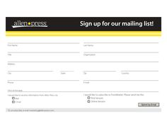 Mailing List Form/Template | Mailing List Signup Form Template ...