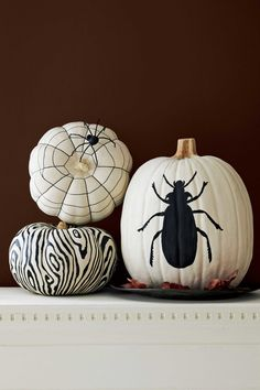 Black-and-White Painted Pumpkins