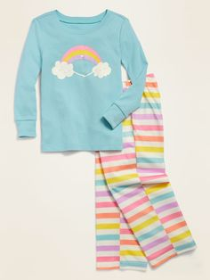 Loose-Fit Rainbow Graphic Pajama Set for Toddler Girls & Baby | Old Navy