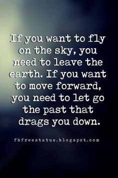 letting go and moving on quotes, If you want to fly on the sky, you need to leave the earth. If you want to move forward, you need to let go the past that drags you down.