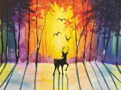 Deer painting with rainbow colored sunset, setting sun on snow. Beginner canvas painting.