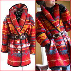 Plus Size Indian Blanket Coats | Indian Blanket Coat 80s Wool Blend Bright L by forestvalevintage