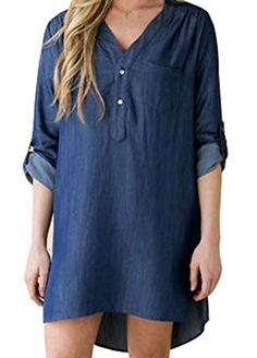 URqueen Womens Fashion Roll Sleeve Denim Mini Dress Casual Jeans Dress Blue L -- See this great product.