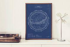 Silkscreen Print: Map II – The Southern Sky (Night-Blue) — stellavie design manufaktur